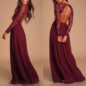 Burgundy Awaken My Love Long Sleeve Maxi Dress